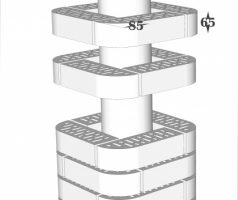 Крышка керамическая 38х38см для столба из фигурного кирпича RF85 250х85х65мм