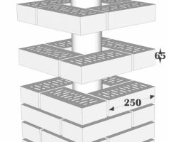 Крышка керамическая 44х44см для столба из кирпича RF 250х120х65мм